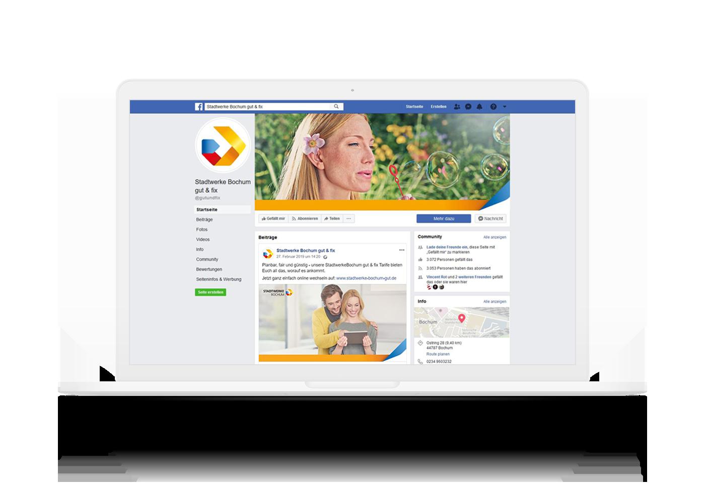 Darstellung Social Media Management facebook