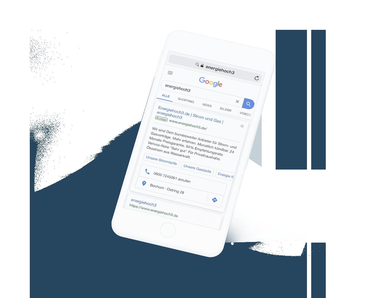Google Suchergbnis Ernegiehoch drei auf einem Smartphone