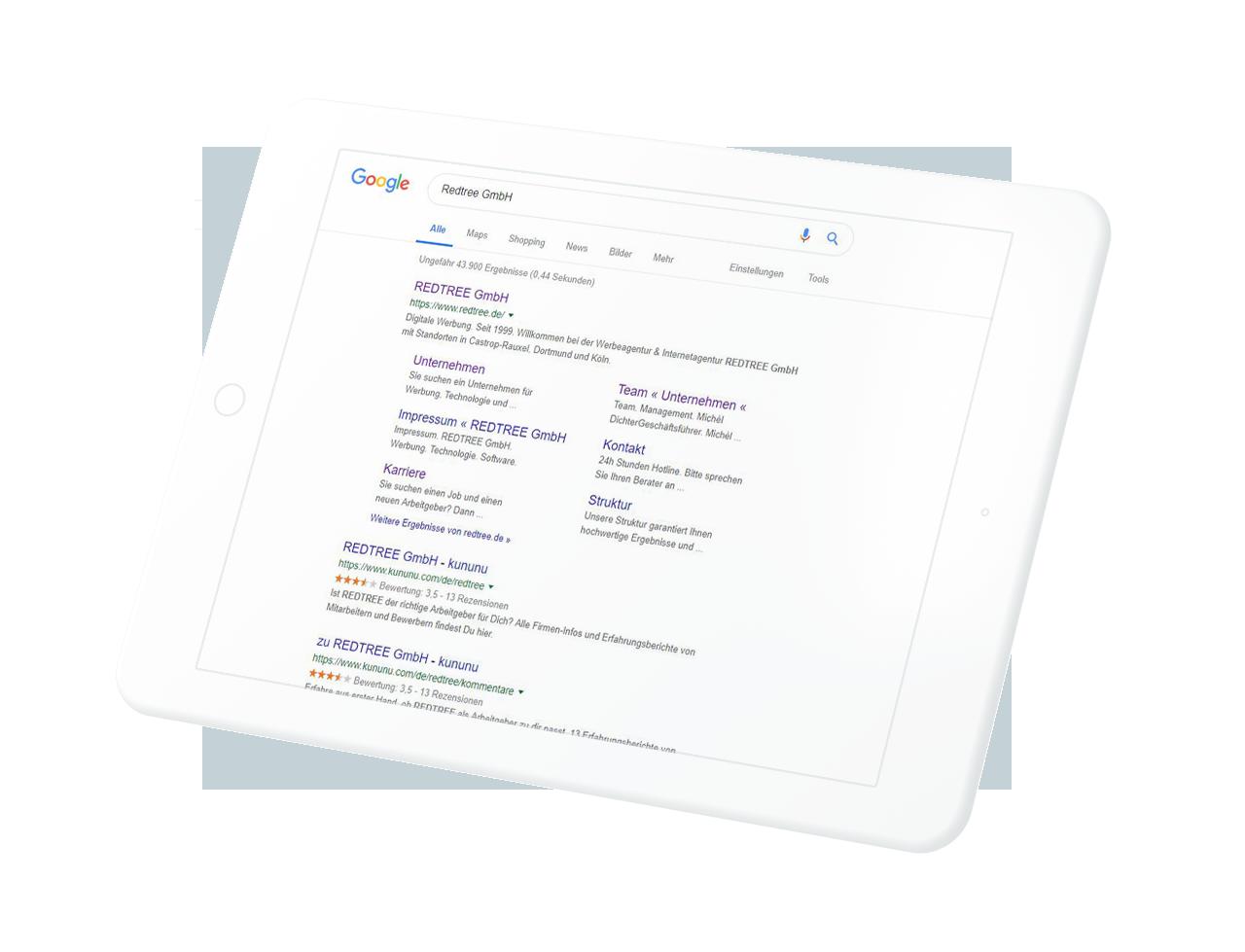 Google Suchergebnis Redtree auf einem Tablet