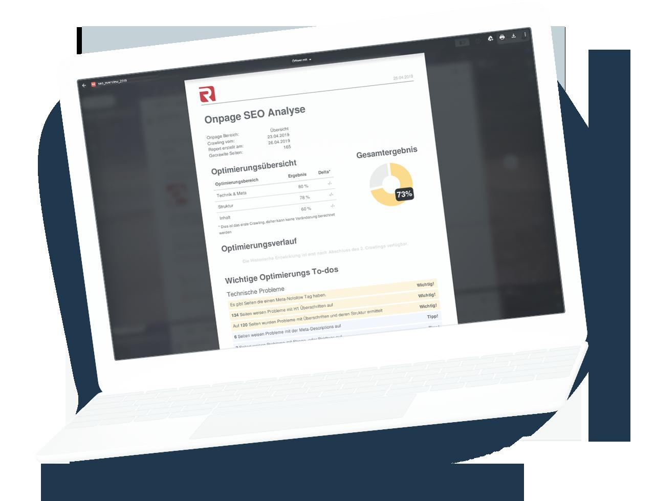 Laptop mit Beispiel eines Seo Analyse Reports der Redree