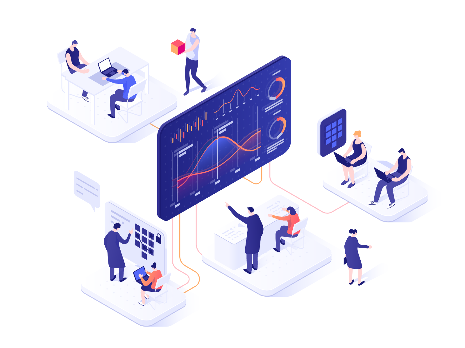 Illustration von eingebundenen Mitarbeitern im Workflow